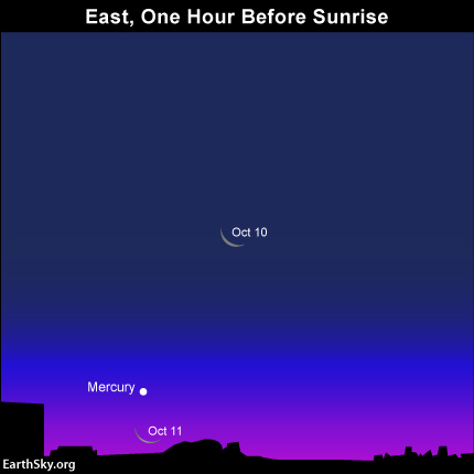 Circle October 10 and 11 on your calendar. That's when you have the opportunity to view the waning crescent moon and Mercury coupling up in the eastern sky at morning dawn. May you be blessed with clear skies! Read more