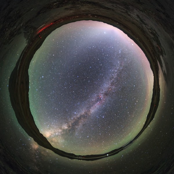 All sky of Yamdrok Lake, at the break of dawn. The arc of the Milky Way from Sagittarius to Perseus and the cone shape of zodiacal light appear over Yamdrok Lake, Tibet, China. Photo by Jeff Dai. View larger and read description.