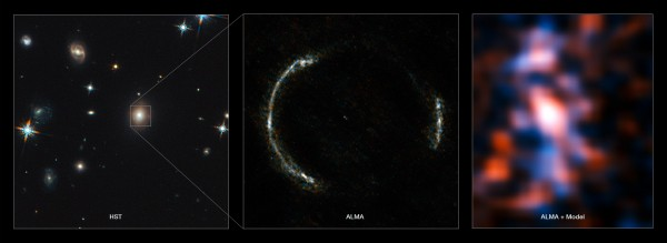 The left panel shows the foreground lensing galaxy (observed with Hubble), and the gravitational lens system SDP.81, which forms an almost perfect Einstein Ring but is hardly visible. The middle image shows the sharp ALMA image of the Einstein Ring. The foreground lensing galaxy is invisible to ALMA, as it does not emit strong submillimeter-wavelength light. The resulting reconstructed image of the distant galaxy (right) using sophisticated models of the magnifying gravitational lens reveals fine structures within the ring that have never been seen before: several giant clouds of dust and cold molecular gas, which are the birthplaces of stars and planets. Credit: ALMA (NRAO/ESO/NAOJ)/Y. Tamura (The University of Tokyo)/Mark Swinbank (Durham University).