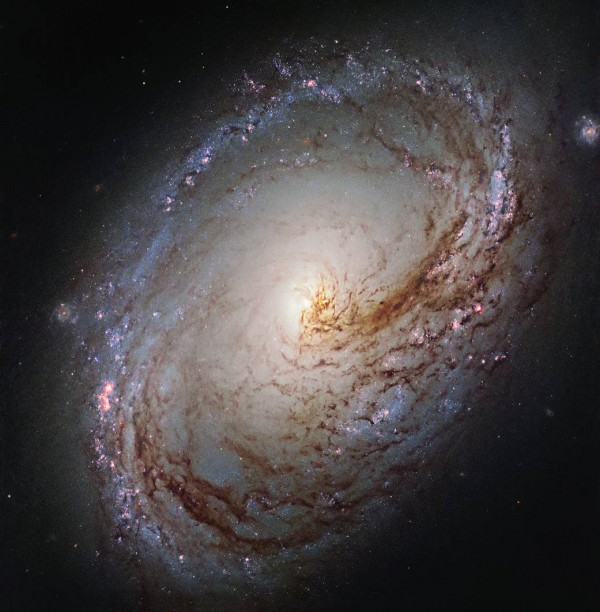 View larger. | This new NASA/ESA Hubble Space Telescope shows Messier 96, a spiral galaxy just over 35 million light-years away in the direction of the constellation of Leo.