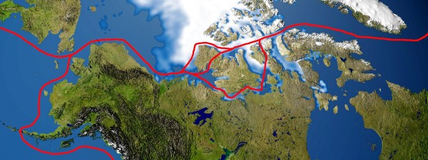 View larger. | Northwest passage routes, via Wikipedia.