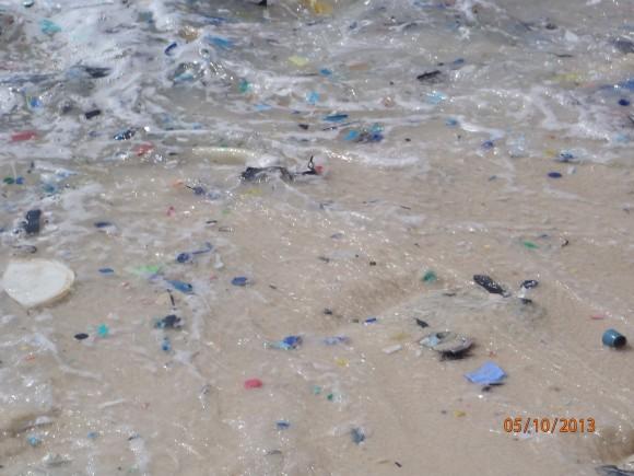 Plastic fragments washing in the surf on Christmas Island, in the northeastern Indian Ocean. Photo credit: © CSIRO, Britta Denise Hardesty