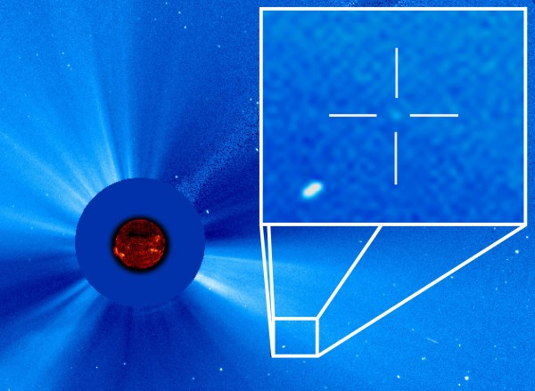 View larger.   The dot in the cross-hairs is a comet streaming toward the sun, as seen on Sept. 14, 2015, by the ESA/NASA Solar and Heliospheric Observatory. This is the 3,000th comet discovered in the data from that space telescope since it launched in 1995. The comet was originally spotted by by Worachate Boonplod of Samut Songkhram, Thailand. Image via ESA/NASA/SOHO