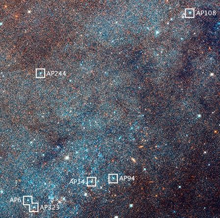 Star clusters in the Andromeda galaxy.