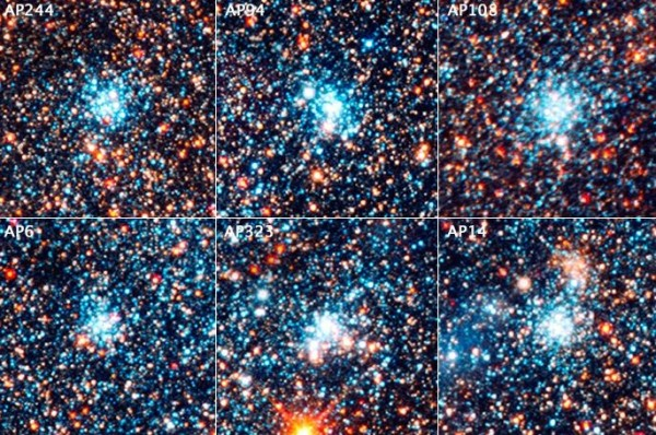This is a view of six bright blue clusters extracted from the field. Hubble astronomers discovered that, for whatever reason, nature apparently cooks up stars with a consistent distribution from massive stars to small stars (blue supergiants to red dwarfs). This remains a constant across the galaxy, despite the fact that the clusters vary in mass by a factor of 10 and range in age from 4 million to 24 million years old. Each cluster square is 150 light-years across.