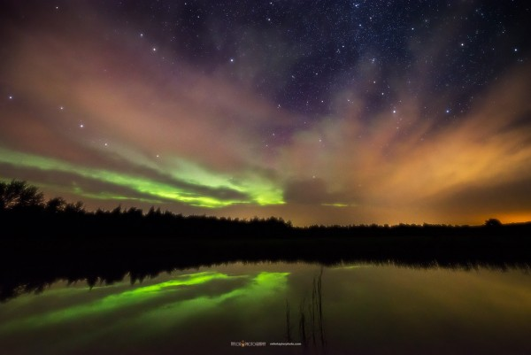 September 7 aurora reflecting in a pond in central Maine.  Photo by Mike Taylor.  Visit Mike's photography website.