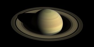 Gorgeous Cassini spacecraft image of Saturn, showing a banded planet and rings nearly wide open.