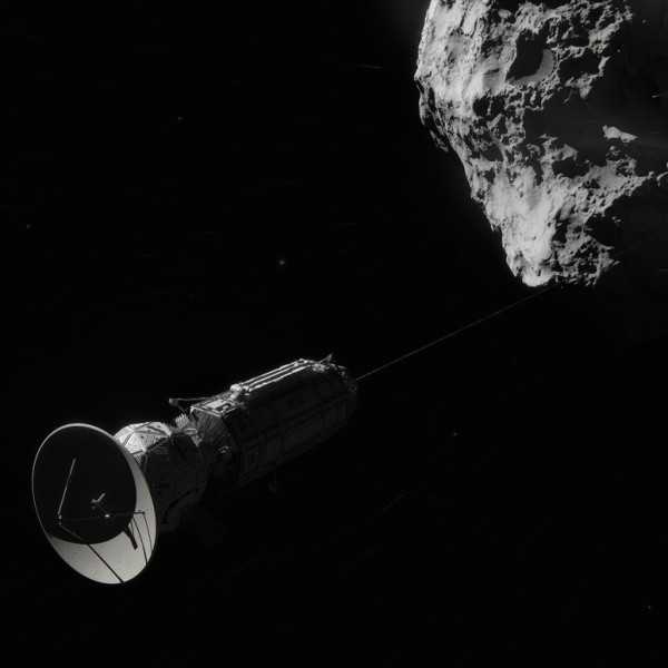 This artist concept shows Comet Hitchhiker, an idea for traveling between asteroids and comets using a harpoon and tether system. Image credit: NASA/JPL-Caltech/Cornelius Dammrich