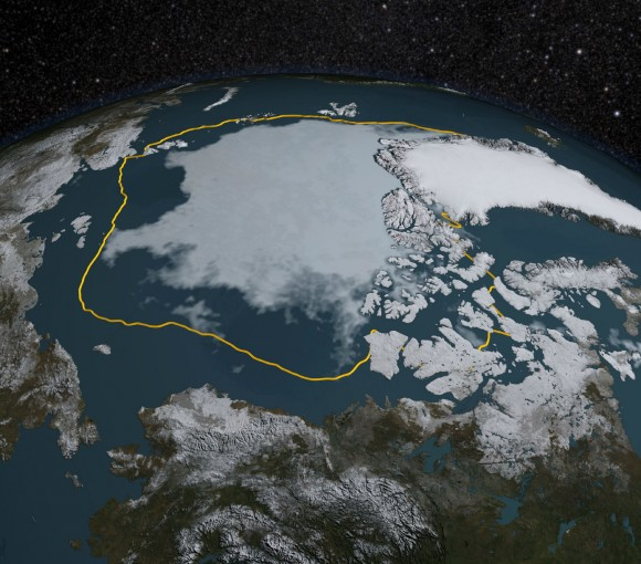 The 2015 Arctic sea ice summertime minimum is 699,000 square miles below the 1981-2010 average, shown here as a gold line. Image credit: NASA/Goddard Scientific Visualization Studio