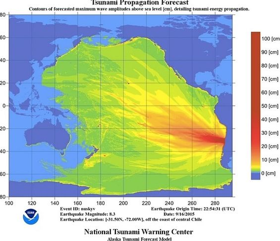 The National Tsunami Warning Center produced this graphic showing how earthquake energy might spread across the Pacific, with predicted tsumani waves heights above sea level.