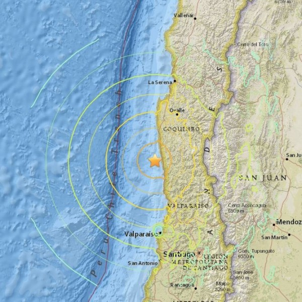 Earthquake off the coast of Chile - 8.3 magnitude, a powerful quake - on September 16, 2015.