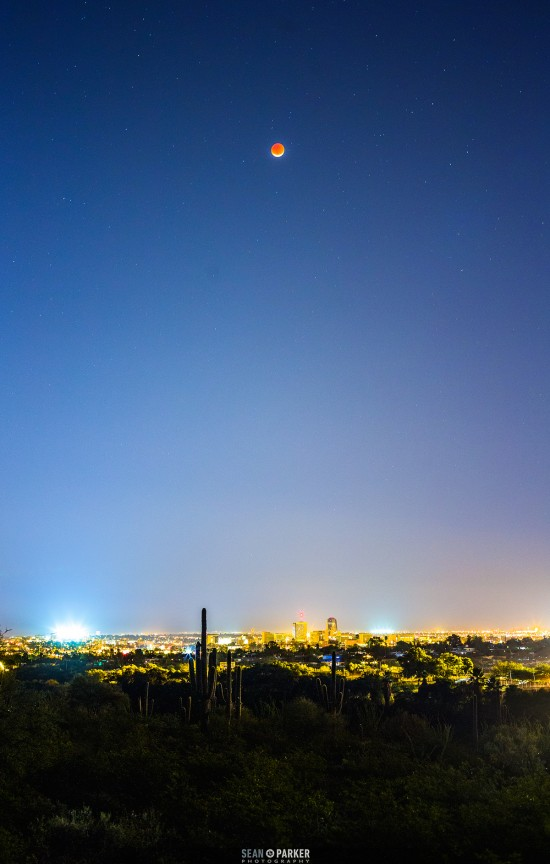 Total eclipse over Tucson, Arizona by Sean Parker.