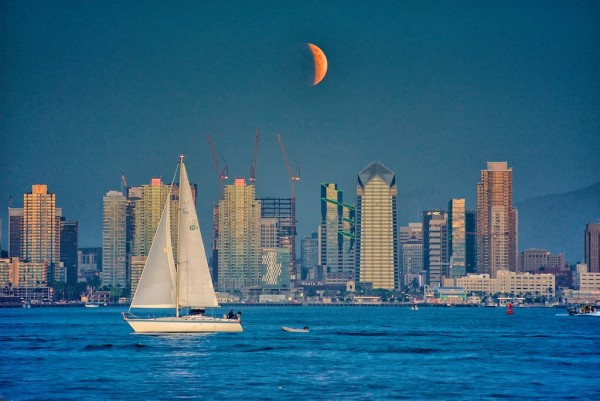 Partial eclipse on September 27 over San Diego, California, by Jim Hatcher.