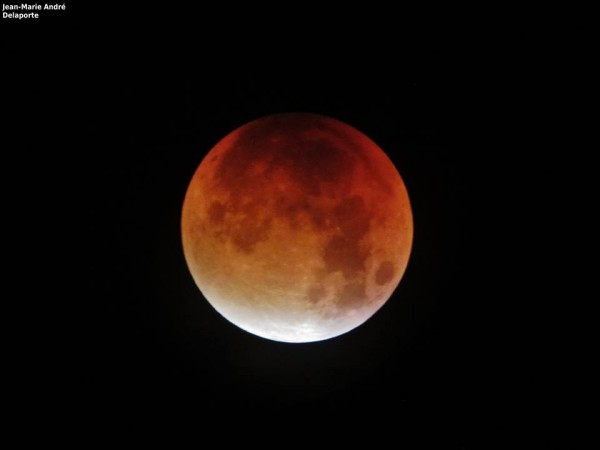 Eclipsed moon, September 27-28, 2015, from Jean Marie Andre Delaporte in Normandy, France.