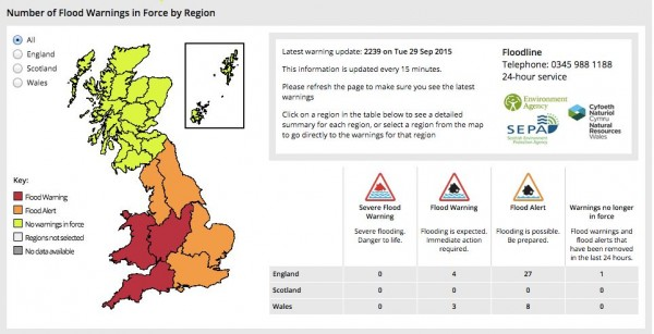View larger and most recent. | As of Tuesday night, many flood warnings and alerts were still in effect for England and Wales.  Get the latest from the UK's Met Office.