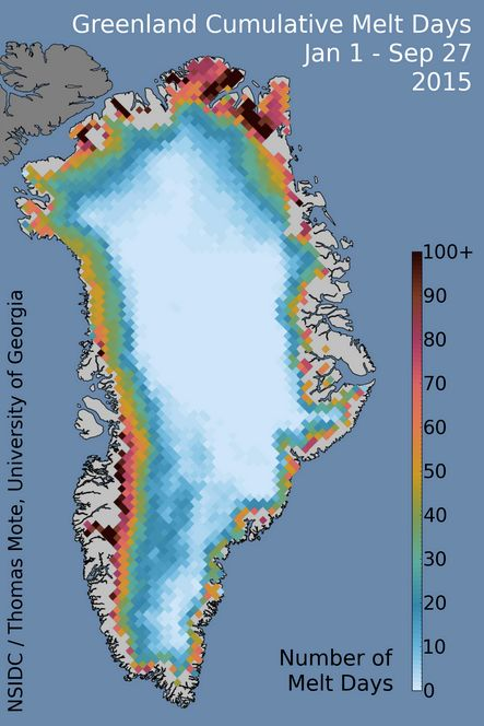 Cummulative melt days in Greenland, 2015.  Image via National Snow and Ice Data Center.