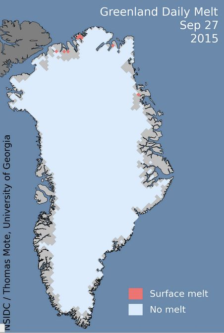 As of this week, ice is returning to Greenland for the winter season.  Image via National Snow and Ice Data Center.