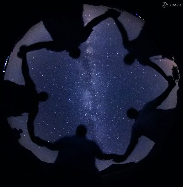 View larger. | Human pentagon with Milky Way in background from our friend CB Devgun in India.