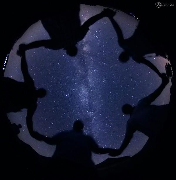 Human pentagon with Milky Way