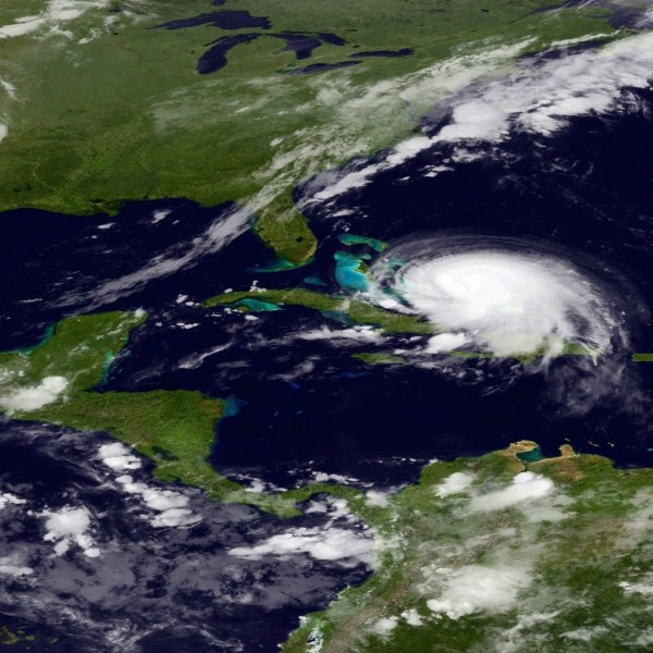 A GOES satellite image of Hurricane Joaquin, as of 5 a.m. EDT (9 UTC) on October 1.  Image via NOAA.