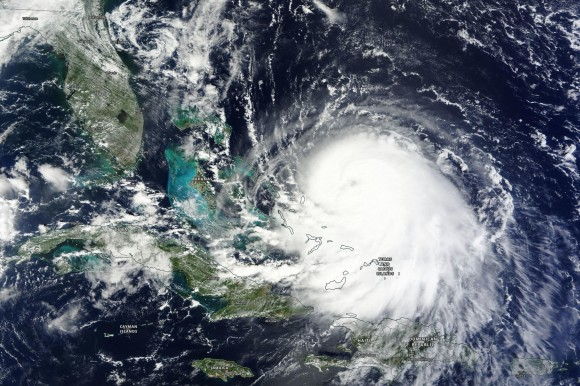 Visible satellite imagery of Hurricane Joaquin showing an eye forming on 9/30/15. Image Credit: NASA