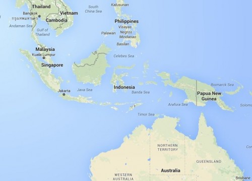 Google map of Indonesia, Singapore and surrounding countries.