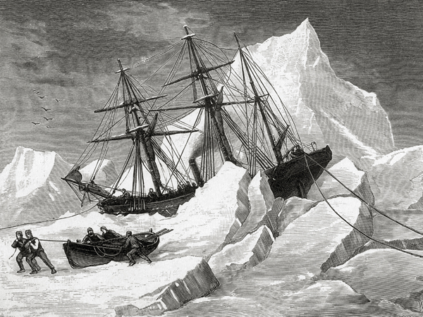 H.M.S. Intrepid, under the command of Irish explorer Sir Francis Leopold McClintock, is trapped in pack ice in Baffin Bay, circa 1853. McClintock is on his first mission to find the 1845 expedition of Sir John Franklin, which disappeared during a search for the Northwest Passage. From a sketch by Commander May R.N. Image credit:Hulton Archive/Getty Images