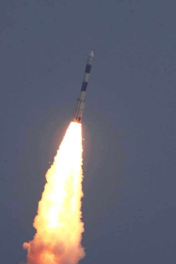 The first Indian astronomy satellite Astrosat was launched on 28th September, 2015, by the Indian Space Research Organisation (ISRO) from Sriharikota, on a PSLV (Polar Satellite Launch Vehicle) rocket.  Image via ISRO.