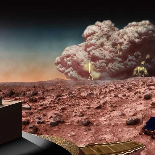 View larger. | Artist's concept of a dust storm on Mars.