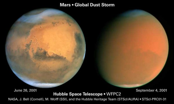 Dust storms on Mars can span the globe, as shown in this Hubble Space Telescope image.