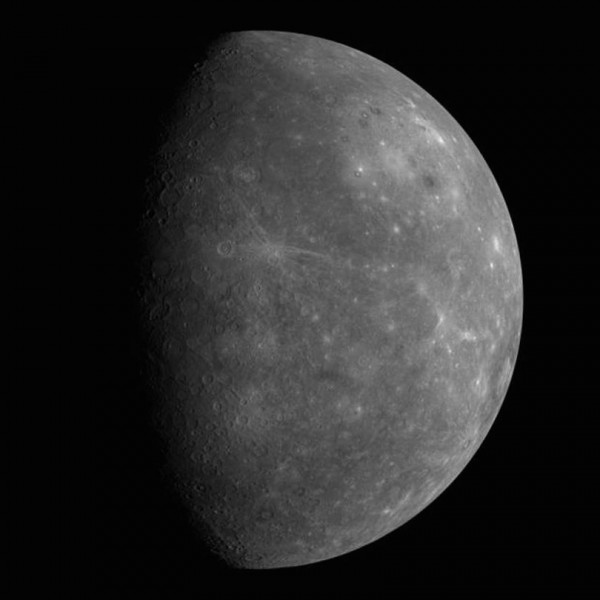 Hundreds of images from the MESSENGER spacecraft went into creating this mosaic of Mercury in 2008.  Image via German Aerospace.