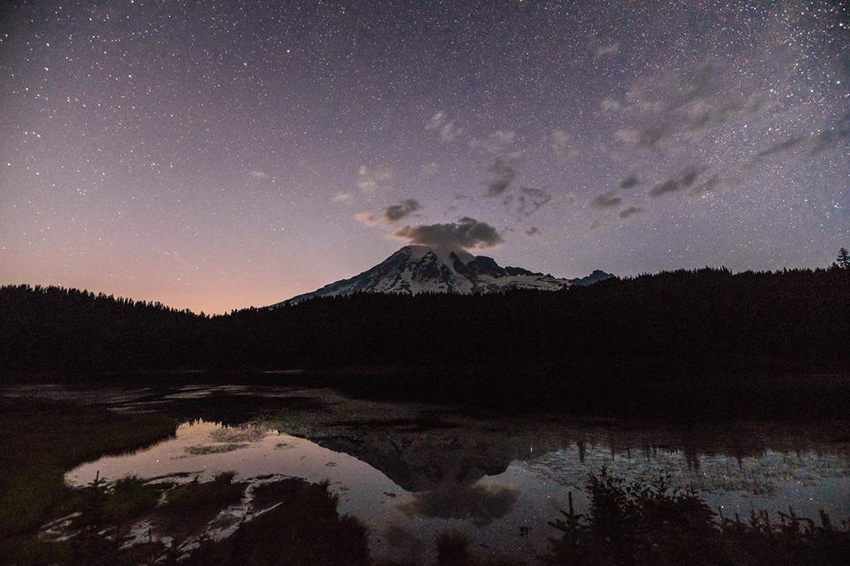 Stars over Mount Rainier