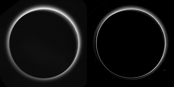 View larger. | I love this one, but then I'm a sky person.  This image shows two versions of Pluto's night sky, with its strange haze layers, taken by New Horizons as it looked back at Pluto shortly after closest approach, as it was leaving this world behind.  On the left, an image with only minor processing.  On the right, special processing reveals a not just one haze layer but several.  Be sure to look at the large version.  Subtle parallel streaks in the haze may be crepuscular rays- shadows cast on the haze by topography such as mountain ranges on Pluto, similar to the rays sometimes seen in the sky after the sun sets behind mountains on Earth.