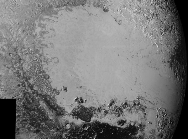 Remember the beautiful heart-shaped feature on Pluto?  Here it is - the left side, anyway - in closer detail.  This image is composite of the part of Pluto known to scientists as Tombaugh Regio, which is covered in smooth, icy plains.