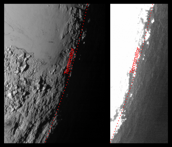 View larger. | The twilight region on Pluto, where day meets night.