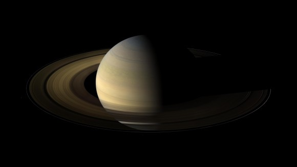 The planet Saturn, viewed by NASA's Cassini spacecraft during its 2009 equinox. Data on how the rings cooled during this time provide insights about the nature of the ring particles. Image credit: NASA/JPL/Space Science Institute