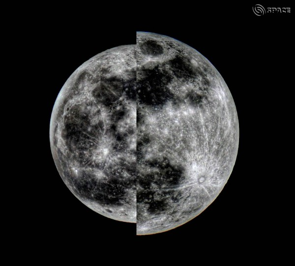 Full moons at apogee (left) and perigee (right) in 2011.  Composite image by EarthSky community member C.B. Devgun in India.  Thanks, C.B.!