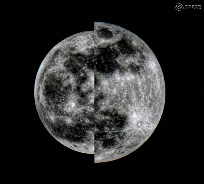 Left: Half of smaller moon; right: half of larger mooon, juxtaposed to show size difference.