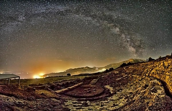 The ancient theater of Egira, Greece, and the Milky way, in a summer night.  Photo by Nikolaos Pantazis.