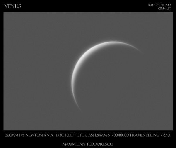 No, it's not the moon.  It's a crescent Venus.  Photo by Maximus Photography.