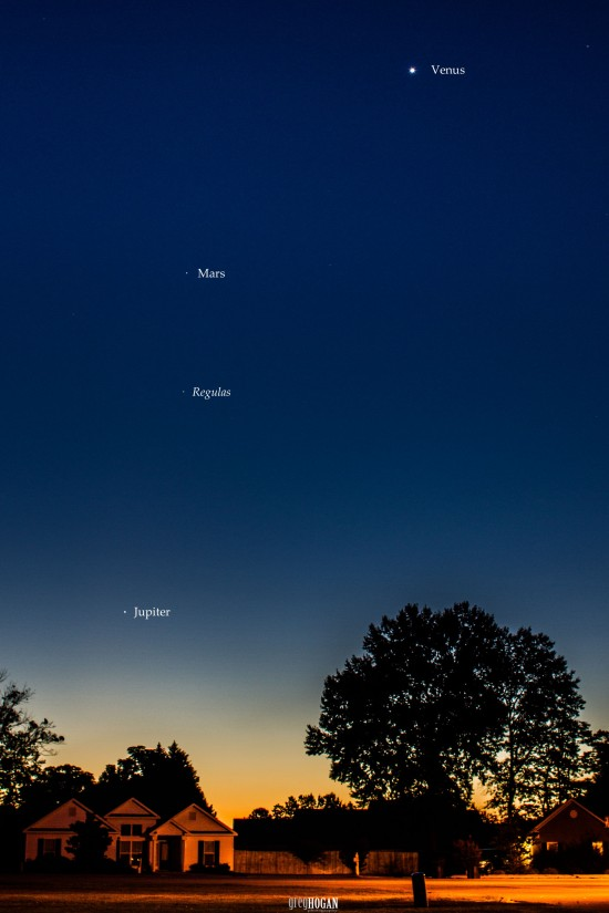 Are you up before dawn?  Look east for three bright planets and a star.  submitted to EarthSky by Greg Hogan in Kathleen, Georgia.  Thanks, Greg!