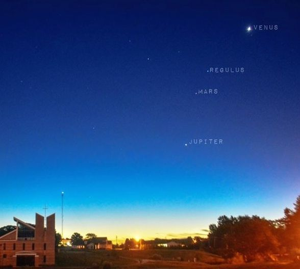 Planets before dawn now, as captured by Niko Powe in Illinois.  Thank you, Niko!