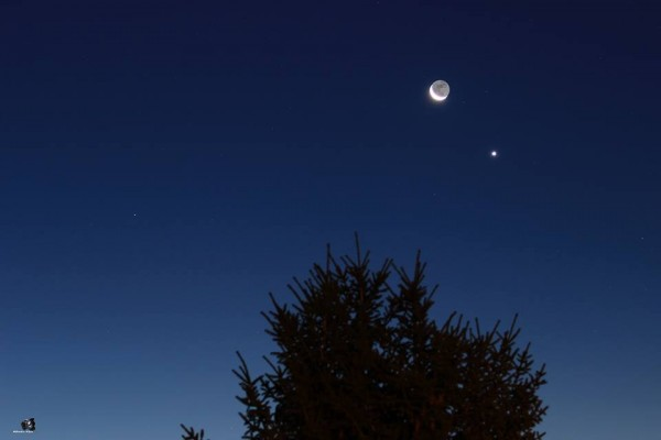 Venus and moon on September 10, 2015 by Brodin Alain in France.