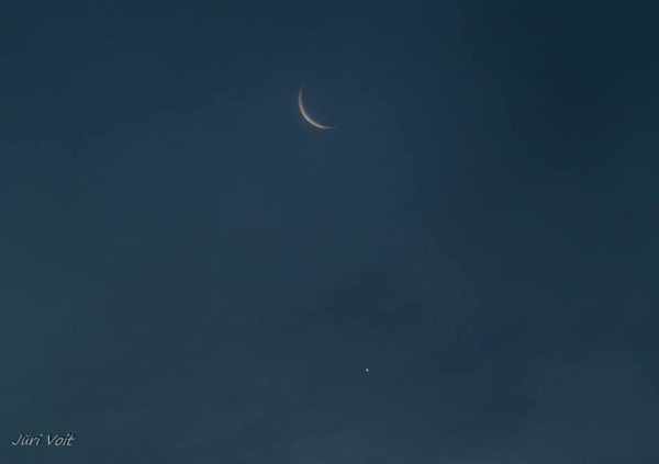 Venus and moon on September 10, 2015 by Juri Voit in Estonia.