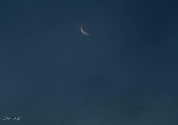Venus and moon on September 10, 2015 by Juri Voit in Estonia.