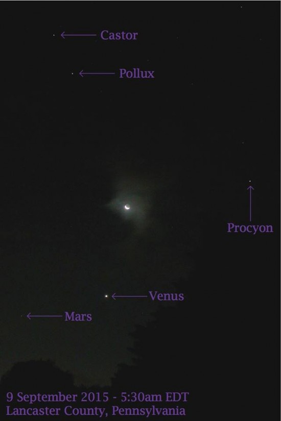 Beth Katz caught the moon and Venus on the morning of September 9, too.  Thank you, Beth and all who posted!