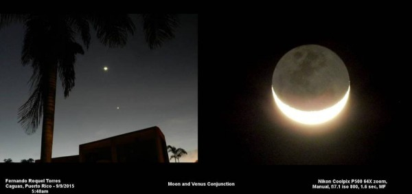 Fernando Roquel Torres in Puerto Rico caught the moon and Venus on September 9.