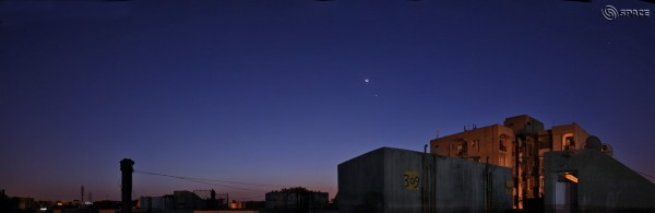 View larger.   Venus and moon on September 10, 2015 by CB Devgun in India.