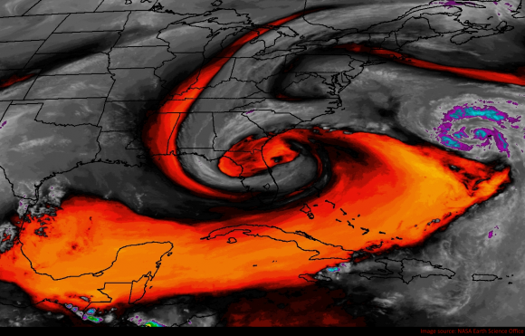 Water vapor imagery showing a highly unusual weather pattern that created a huge flood event. Image Credit: NASA