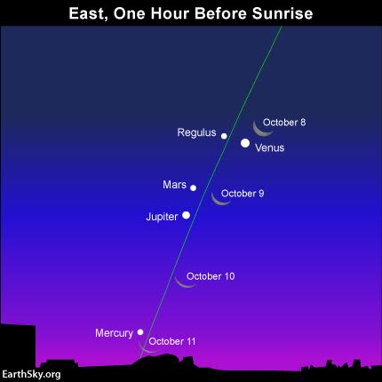 The waning crescent moon swings by the morning planets Venus, Mars, Jupiter and Mercury - in the second week of October. The green line depicts the ecliptic - the pathway of the moon and planets. Read more.